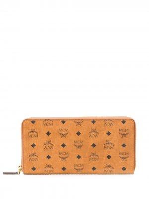 Большой кошелек Visetos с круговой молнией MCM. Цвет: коричневый