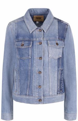 Джинсовая куртка прямого кроя с потертостями Paige. Цвет: голубой