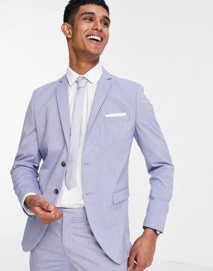 Голубой приталенный пиджак -Фиолетовый цвет Selected Homme