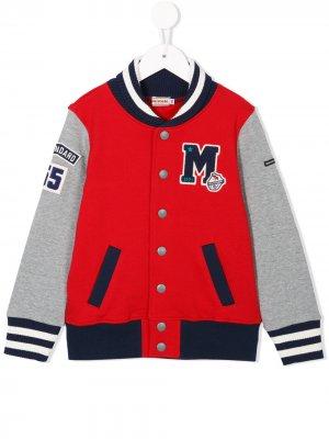 Embroidered letterman jacket Miki House. Цвет: красный