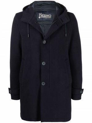 Шерстяное пальто с капюшоном Herno. Цвет: синий