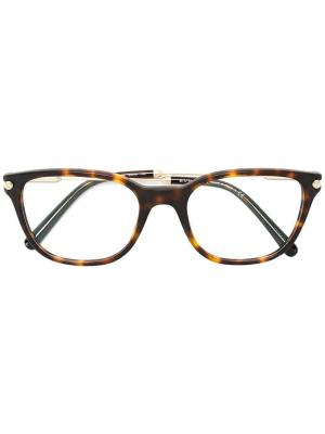 Очки с квадратной оправой Bulgari. Цвет: коричневый