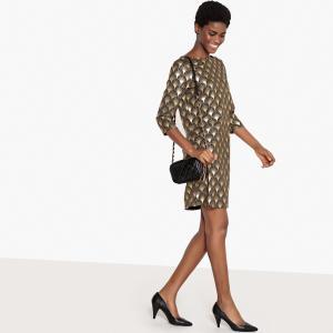 Платье вечернее с золотистым геометрическим рисунком LA REDOUTE COLLECTIONS. Цвет: рисунок геометрический/фон черный