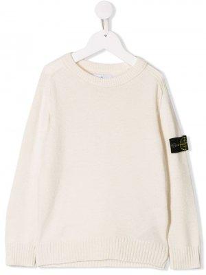 Пуловер с логотипом Stone Island Junior. Цвет: белый