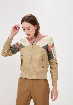 Куртка утепленная Schott N.Y.C. Woman American College Bomber Jacket – Make Up. Цвет: бежевый