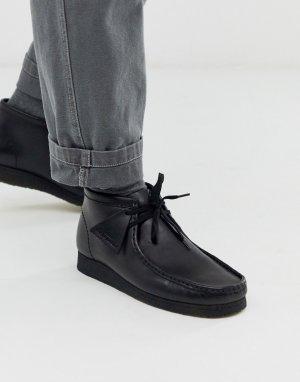 Черные кожаные ботинки wallabee-Черный Clarks Originals