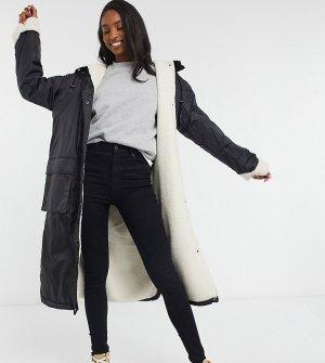Черная куртка-дождевик макси с подкладкой из искусственного меха ASOS DESIGN Tall-Черный Tall