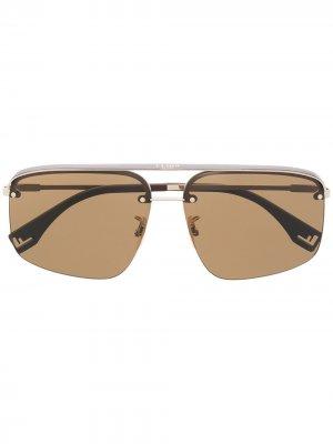 Солнцезащитные очки в прямоугольной оправе Fendi Eyewear. Цвет: золотистый