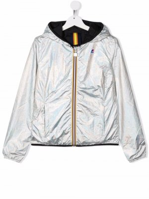 TEEN iridescent hooded jacket K Way Kids. Цвет: серебристый