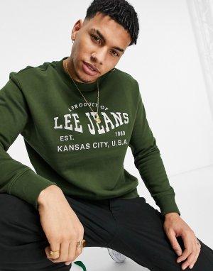 Зеленый свитшот с круглым вырезом и логотипом -Зеленый цвет Lee