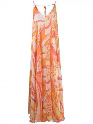 Длинное пляжное платье с абстрактным принтом Emilio Pucci. Цвет: оранжевый
