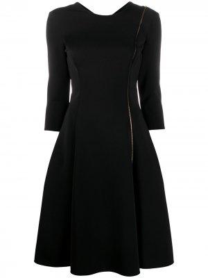Короткое платье с молнией Versace. Цвет: черный