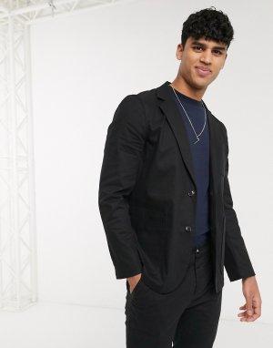Черный пиджак узкого кроя с квадратными карманами из хлопковой ткани от костюма ASOS DESIGN