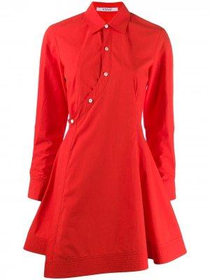 Поплиновое короткое платье Derek Lam 10 Crosby. Цвет: красный