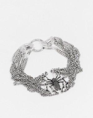 Серебристая сбруя-бандаж на руку с дизайном в виде паука ASOS DESIGN Halloween-Серебряный