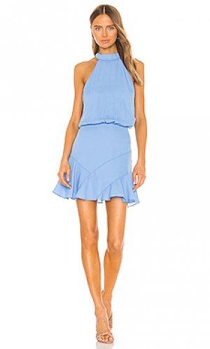 Мини платье asymmetrical krisa. Цвет: синий