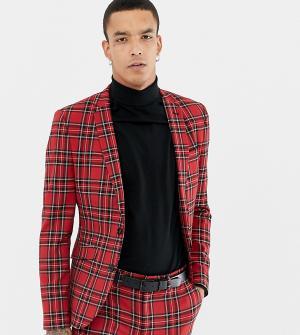 Красный приталенный пиджак в шотландскую клетку Heart & Dagger