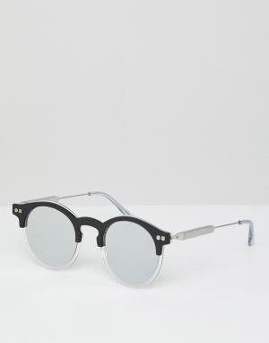 Круглые солнцезащитные очки в черной оправе с зеркальными стеклами Spitfire. Цвет: черный
