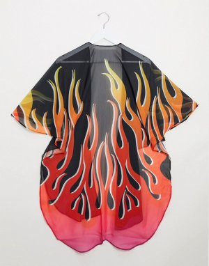 Кейп с принтом пламени -Черный цвет ASOS DESIGN