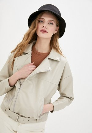 Куртка кожаная Elsi. Цвет: бежевый