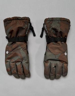 Темно-серые горнолыжные водонепроницаемые перчатки с камуфляжным принт Columbia. Цвет: серый