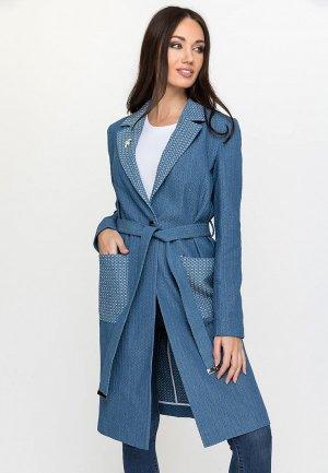 Пальто Gloss. Цвет: синий