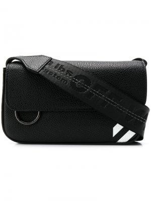 Diagonal striped shoulder bag Off-White. Цвет: черный