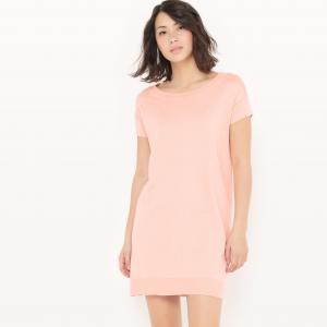 Платье-пуловер из хлопка/шелка La Redoute Collections. Цвет: светло-розовый,серый меланж,черный