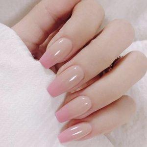 24шт градиентные накладные ногти и двухсторонняя лента SHEIN. Цвет: многоцветный