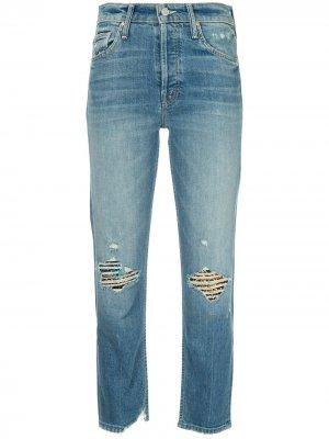 Прямые джинсы с рваными деталями Mother. Цвет: синий