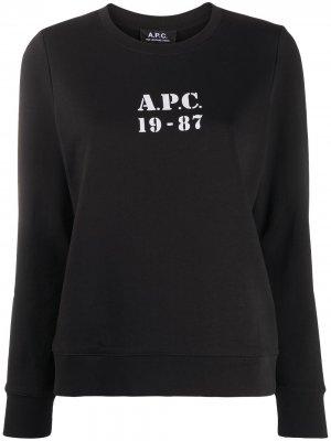 Толстовка с логотипом A.P.C.. Цвет: черный
