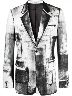 Однобортный пиджак с эффектом тромплей Alexander McQueen. Цвет: белый