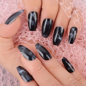 24шт Накладные ногти с узором омбре & 1 лист лента 1шт пилочка для ногтей SHEIN. Цвет: многоцветный
