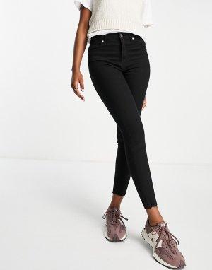 Черные укороченные джинсы скинни с завышенной талией Black Iris Life-Черный цвет Only