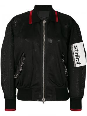 Куртка-бомбер из сетчатого материала Alexander Wang. Цвет: черный