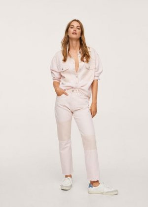 Рубашка с контрастными карманами - Marble Mango. Цвет: пастельно-розовый