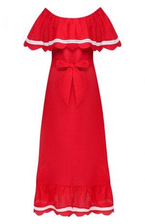 Хлопковое платье Marysia. Цвет: красный