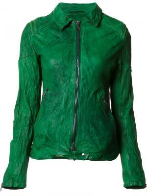Кожаная куртка с эффектом помятости Giorgio Brato. Цвет: зелёный