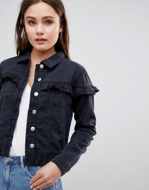 Джинсовая куртка с оборками Parisian. Цвет: черный