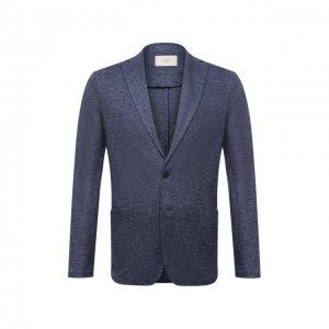 Льняной пиджак Altea. Цвет: синий