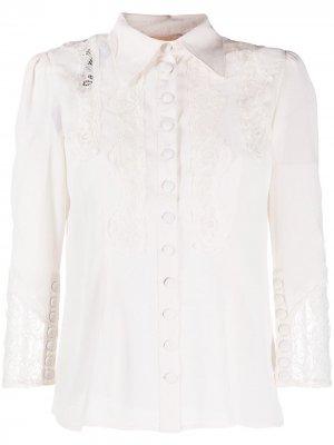 Рубашка с кружевной вставкой byTiMo. Цвет: нейтральные цвета