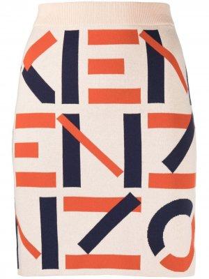 Жаккардовая юбка мини с монограммой Kenzo. Цвет: нейтральные цвета