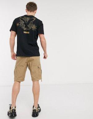 Черная футболка с логотипом на груди и спине -Черный American Eagle