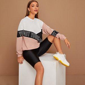 Контрастный пуловер с текстовым принтом SHEIN. Цвет: многоцветный