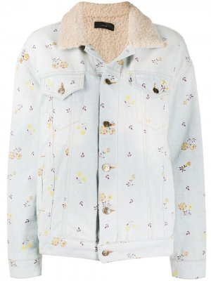 Джинсовая куртка с отделкой из искусственного меха Alanui. Цвет: синий