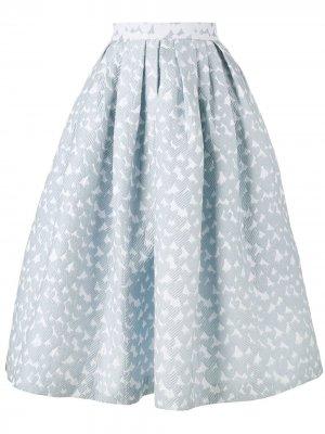 Пышная жаккардовая юбка миди House of Holland. Цвет: синий
