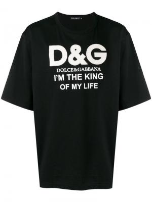 Футболка с принтом Im the King of My Life Dolce & Gabbana. Цвет: черный