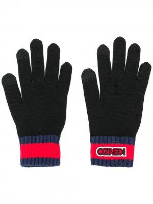 Перчатки в рубчик с нашивкой-логотипом Kenzo. Цвет: черный