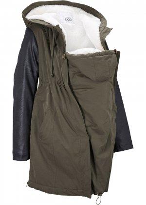 Куртка с отделкой из плюша для беременных bonprix. Цвет: зеленый