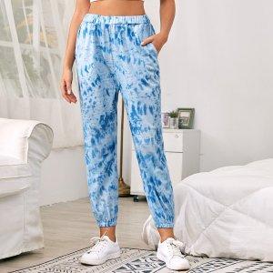 Разноцветные домашние брюки с эластичной талией SHEIN. Цвет: синий